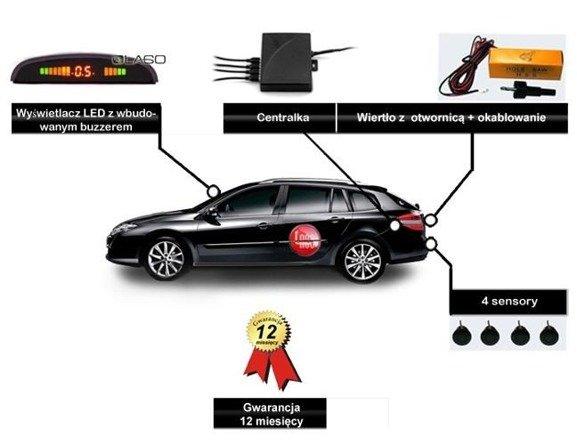 Czujniki cofania, 4 sensory, wyświetlacz LED