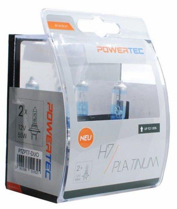 Żarówki halogenowe POWERTEC H7 55W +130% białe światło