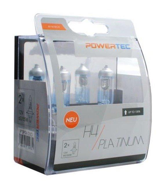 Żarówki halogenowe POWERTEC H4 55W / 60W +130% białe światło